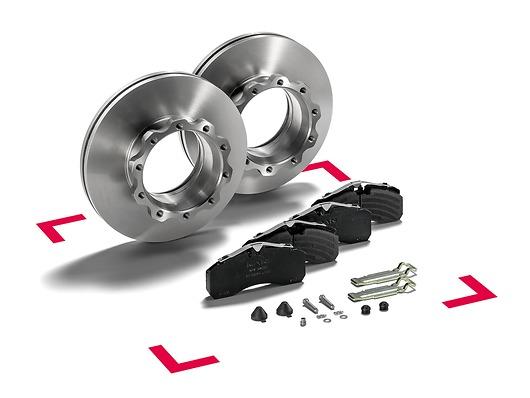 Оригинальный комплект дисковых тормозов MAN сдвумя дисками тормозного механизма икомплектом тормозных накладок
